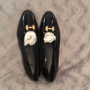 Black patent leather ballet style flats